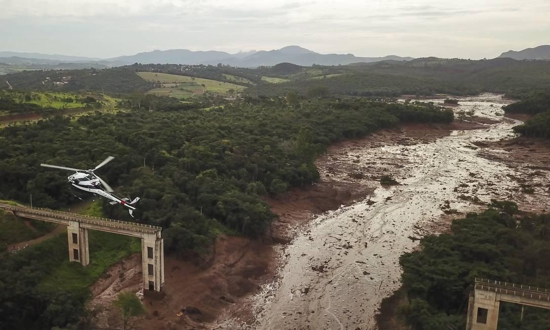 Vista aérea de parte da destruição causada pelo rompimento da barragem da Vale em Brumadinho(MG) Foto: Pedro Vilela / Getty Images