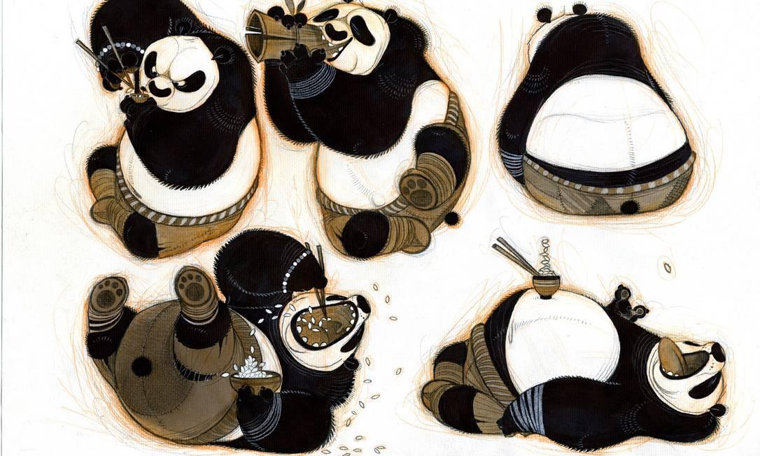 """Rascunhos de Nicolas Marlet para a criação do personagem Po, do filme """"Kung Fu Panda"""" Foto: Divulgação"""