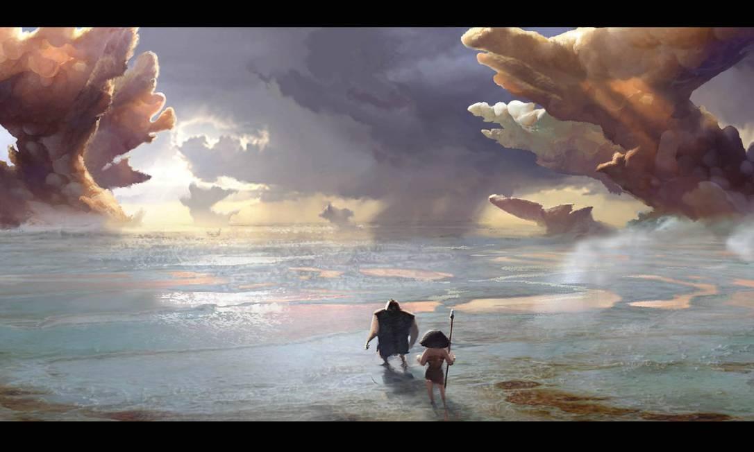 """Paul Duncan desenhou esta paisagem para o filme """"Croods"""", outro sucesso da Dreamworks Foto: Divulgação"""
