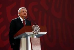 Presidente do México, Andrés Manuel López Obrador discursa no Palácio Nacional Foto: CARLOS JASSO / REUTERS