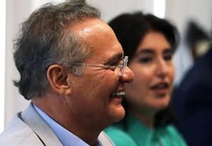 Renan Calheiros e Simone Tebet participam da reunião da bancada do MDB Foto: Jorge William/Agência O Globo