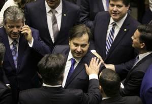 O presidente da Câmara, Rodrigo Maia, na sessão de posse dos deputados Foto: Sergio Lima / AFP