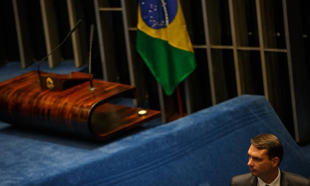 Filho do presidente Jair Bolsonaro, Flávio Bolsonaro (PSL-RJ) estreará como senador; ele foi deputado estadual pelo RJ de 2002 a janeiro deste ano. Foto: Daniel Marenco / Agência O Globo