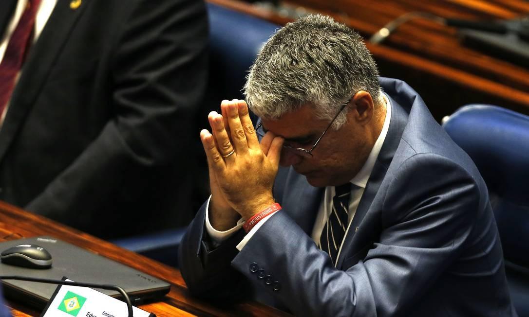 O senador Eduardo Girão (Pros-CE) articulou uma lista de assinaturas para que a votação seja aberta. Ele é contra a eleição de Renan Calheiros (MDB-AL) para a presidência da Casa. Jorge William / Agência O Globo