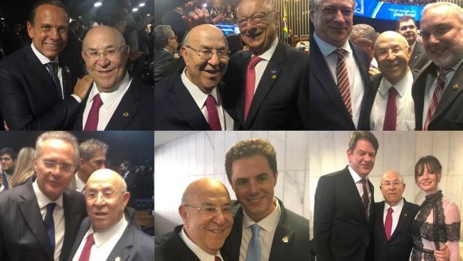 Suplente de senador, Ney Suassuna passou a tarde posando com novos e velhos rostos da política no Congresso Foto: Reprodução