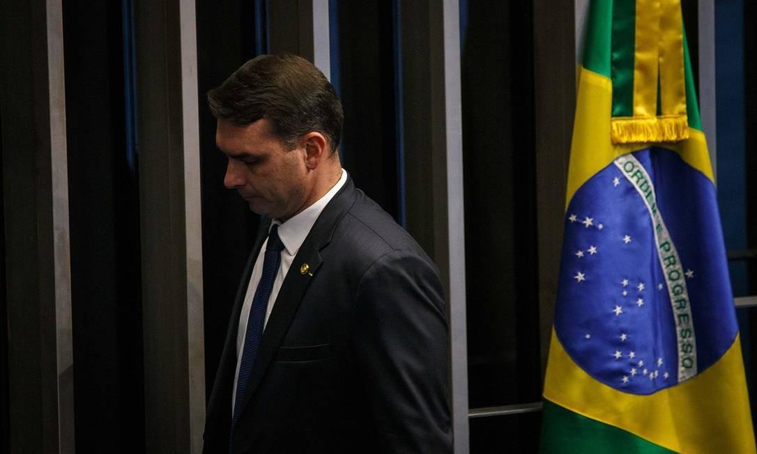 Flávio Bolsonaro em cerimônia de posse no Senado, em Brasília (DF) Foto: Daniel Marenco / Agência O Globo