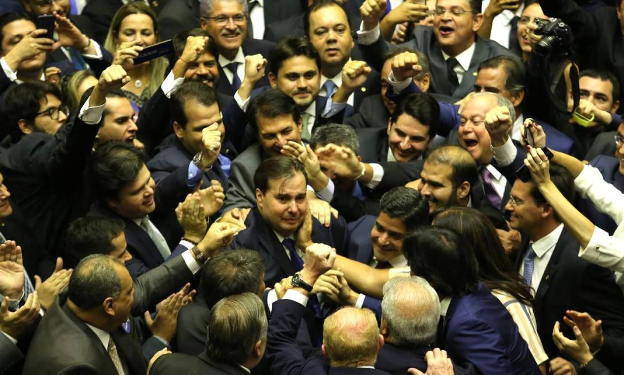 Rodrigo Maia (DEM-RJ) é reconduzido à presidência da Câmara dos Deputados Foto: Jorge William / Agência O Globo - 01/02/2019