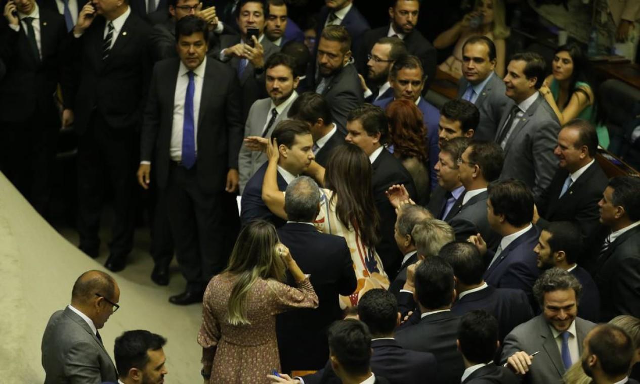 Maia é alinhado à pauta do superministro da Economia, Paulo Guedes, e conseguiu formar uma ampla aliança Foto: Jorge William / Agência O Globo - 01/02/2019