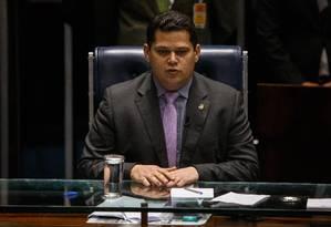 Davi Alcolumbre (DEM-AP) preside sessão do Senado Foto: Daniel Marenco/Agência O Globo/01-02-2019