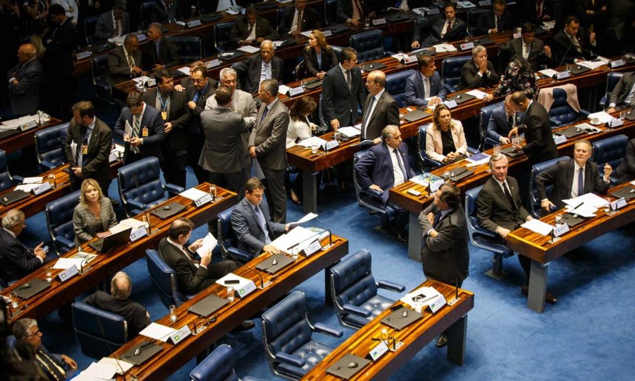 Sessão plenária do Senado Federal para eleição do presidente do Senado Foto: Daniel Marenco / Agência O Globo