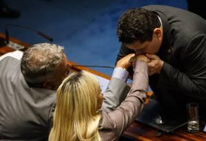 Davi Alcolumbre agradece o apoio dos colegas na eleição do Senado Foto: Daniel Marenco / Agência O Globo