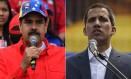 Maduro e Guaidó discursam em atos públicos realizados paralelamente neste sábado; oposição criou desafio inédito para o regime, mas saída do impasse continua indefinida Foto: AFP/2-2-2019