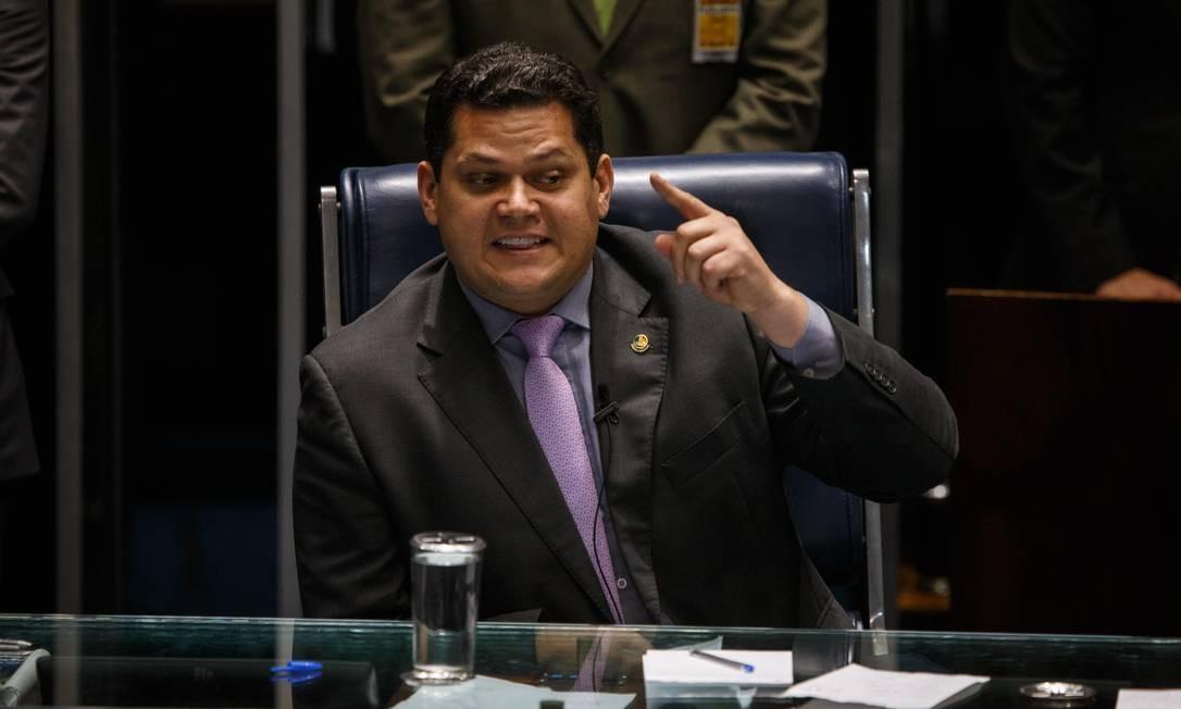 O presidente do Senado, Davi Alcolumbre 01/02/2019 Foto: Daniel Marenco / Agência O Globo