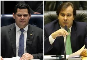 Os presidente do Senado, Davi Alcolumbre, e da Câmara, Rodrigo Maia Foto: Arquivo O GLOBO