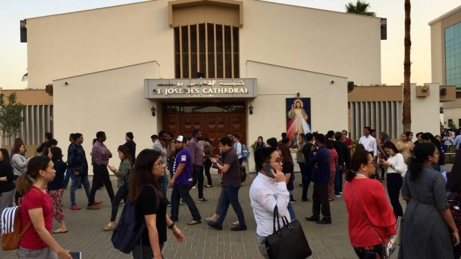 Visita do Papa agitou comunidade católica nos Emirados Árabes, formada principalmente por indianos e filipinos que trabalham no país Foto: Richard Furst