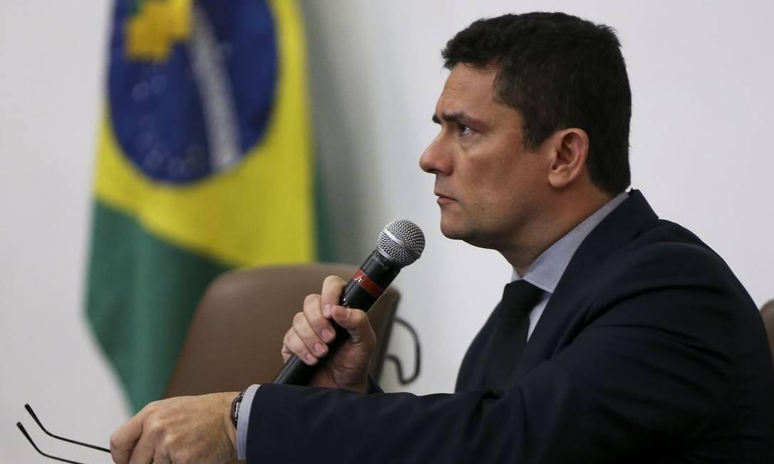 O ministro da Justiça e Segurança Pública, Sergio Moro, apresenta pacote de mudanças legislativas Foto: Marcelo Camargo/Agência Brasil