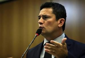 O ministro da Justiça, Sergio Moro, apresenta pacote de projetos Foto: Jorge William / Agência O Globo