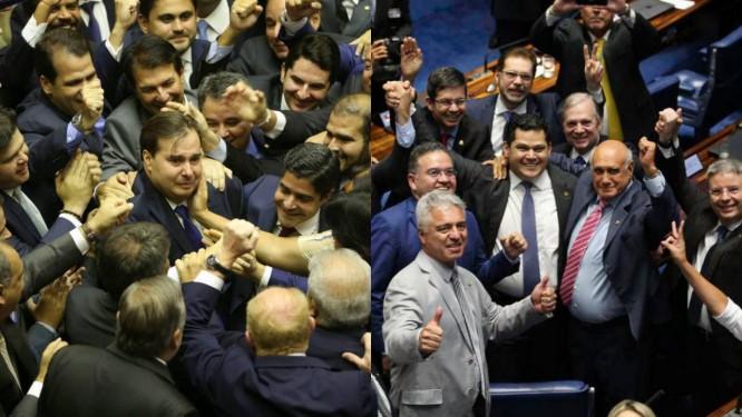 A comemoração da vitória de Rodrigo Maia na Câmara (à esq.) e de Davi Alcolumbre no Senado Foto: Valter Campanato/Ag. Brasil e Fabio Rodrigues Pozzebom/Ag Brasil