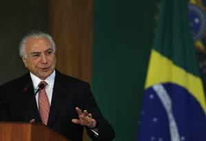 Michel Temer participa de cerimônia no Palácio do Planalto Foto: Jorge William/Agência O Globo/13-12-2018