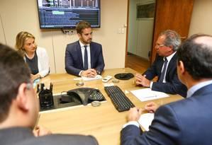 O governador do Rio Grande do Sul, Eduardo Leite, durante reunião com o ministro da Economia, Paulo Guedes Foto: Reprodução/Facebook