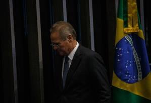 O senador Renan Calheiros, após retirar sua candidatura a presidente do Senado Foto: Daniel Marenco/Agência O Globo/02-02-2019