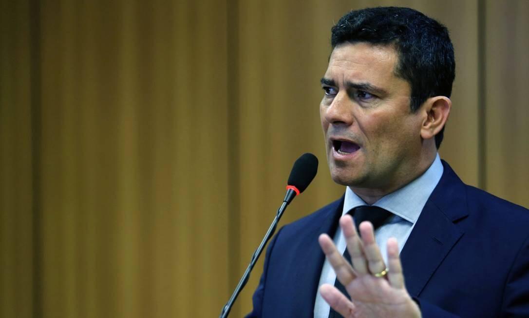 O ministro da Justiça, Sergio Moro, durante o anúncio do pacote de medidas de combate ao crime e à corrupção Foto: Jorge William / Agência O Globo