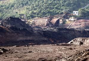 Barragem 1 da Mina do Feijão em Brumadinho após o acidente 03/02/2019 Foto: Domingos Peixoto / Agência O Globo