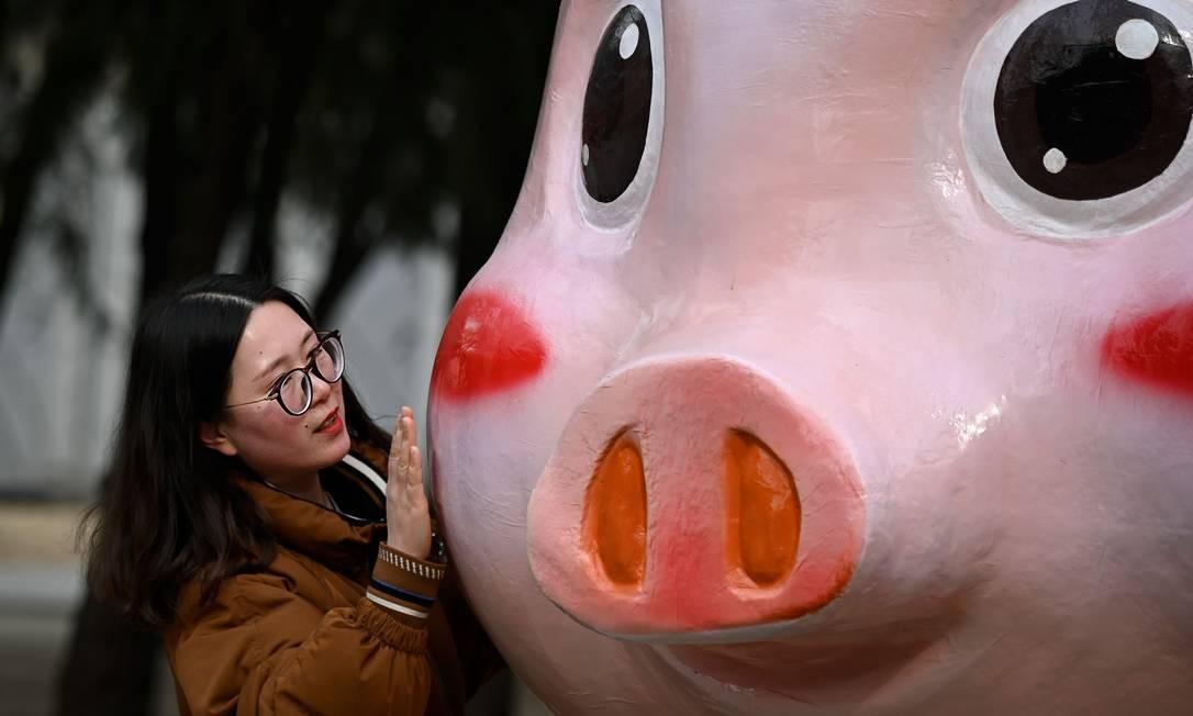 Mulher posa para foto com imagem de porco em Pequim; a festa de Ano Novo é a mais importante do para os chineses Foto: WANG ZHAO / AFP