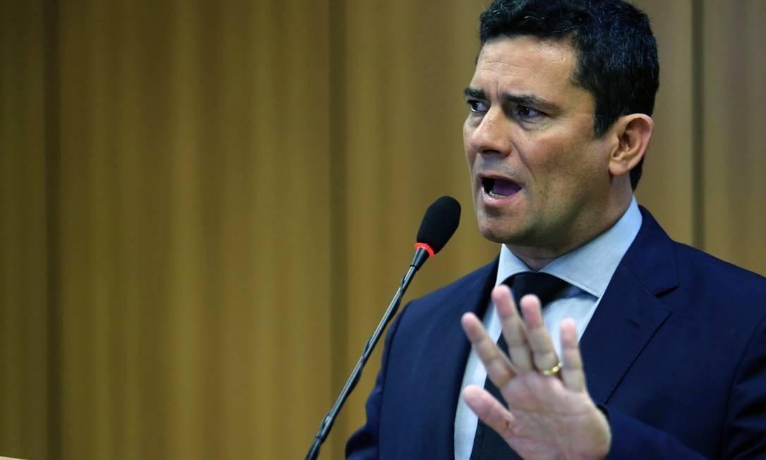 O ministro da Justiça, Sergio Moro, apresenta o pacote para segurança pública Foto: Jorge William / Agência O Globo