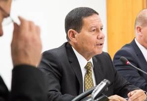 O vice-presidente Hamilton Mourão participa de reunião ministerial Foto: Romério Cunha/Vice-Presidência