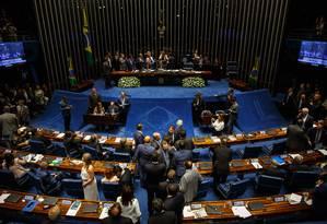 Sessão do Senado que elegeu Davi Alcolumbre como novo presidente Foto: Daniel Marenco/Agência O Globo/02-02-2019