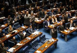 Sessão do Senado que elegeu novo presidente Foto: Daniel Marenco/Agência O Globo/02-02-2019