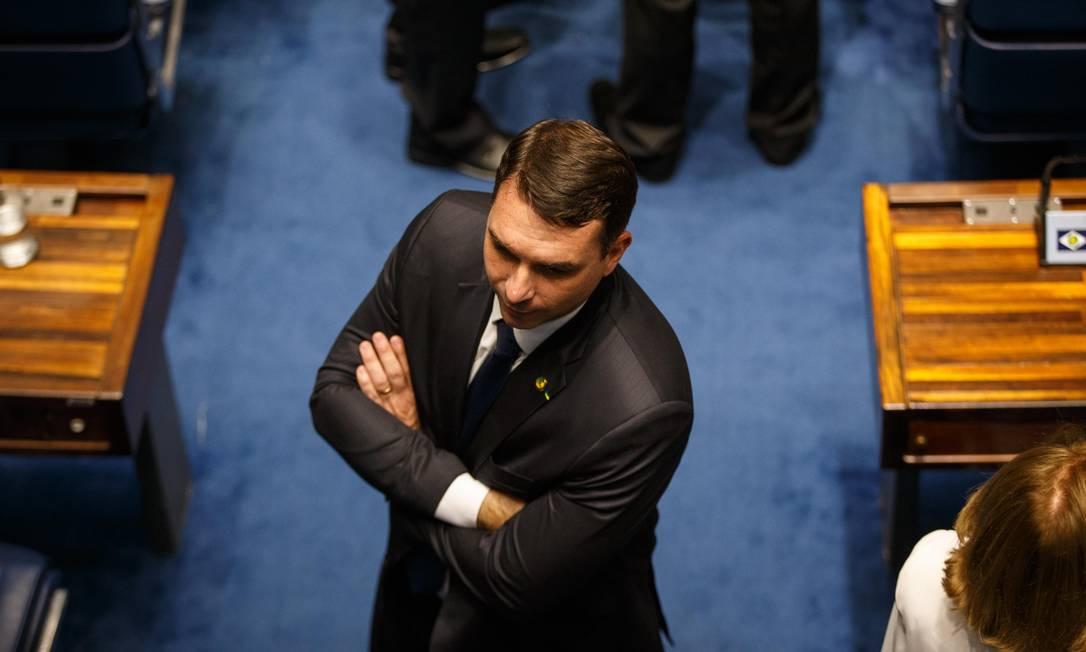 O senador Flávio Bolsonaro (PSL-RJ), no plenário do Senado Foto: Daniel Marenco/Agência O Globo/01-02-2019