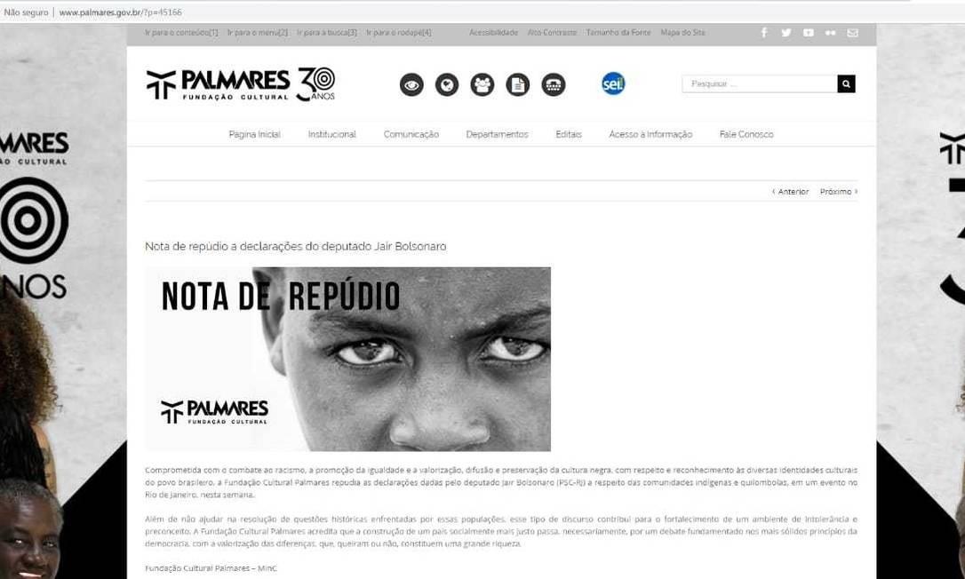 Nota de repúdio contra Jair Bolsonaro foi publicada no site em abril de 2017 Foto: Reprodução