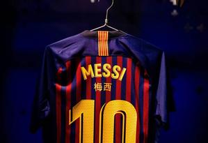 Camisa que será usada por Messi no clássico desta quarta Foto: Divulgação