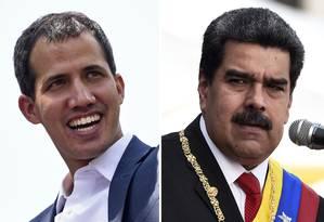 Montagem coloca lado a lado Juan Guaidó, líder do Parlamento venezuelano e autoproclamado presidente com apoio da Casa, e presidente Nicolás Maduro Foto: STF / AFP