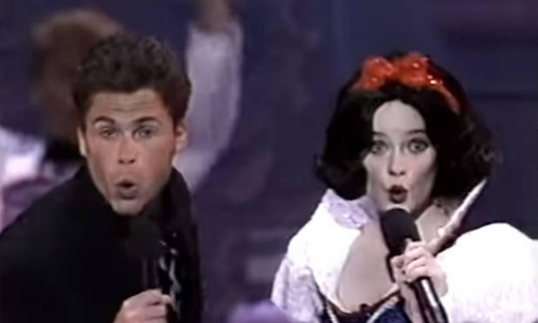 Rob Lowe e Eileen Bowman no dueto do Oscar de 1989 Foto: Reprodução