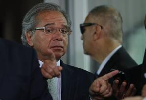 O ministro da Economia, Paulo Guedes, após reunião com o presidente da Câmara, Rodrigo Maia Foto: Jorge William/Agência O Globo/05-02-2019