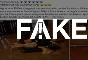 Postagem falsa sobre suposta abertura de comportas em Cubatão (SP) Foto: Reprodução