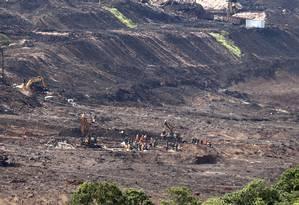 Devastação causada por rompimento de barragem em Brumadinho Foto: Domingos Peixoto/Agência O Globo/03-02-2019