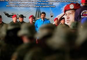 Nicolás Maduro fala a soldados durante exercícios militares em Maracaibo, na quarta-feira Foto: Divulgação/Reuters / REUTERS/6-2-2019