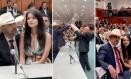 """O deputado estadual Amauri Ribeiro (PRP-GO) com a mulher, Cristhiane, durante a cerimônia de posse: """"É muito comum ela sentar em meu colo"""" Foto: Reprodução"""