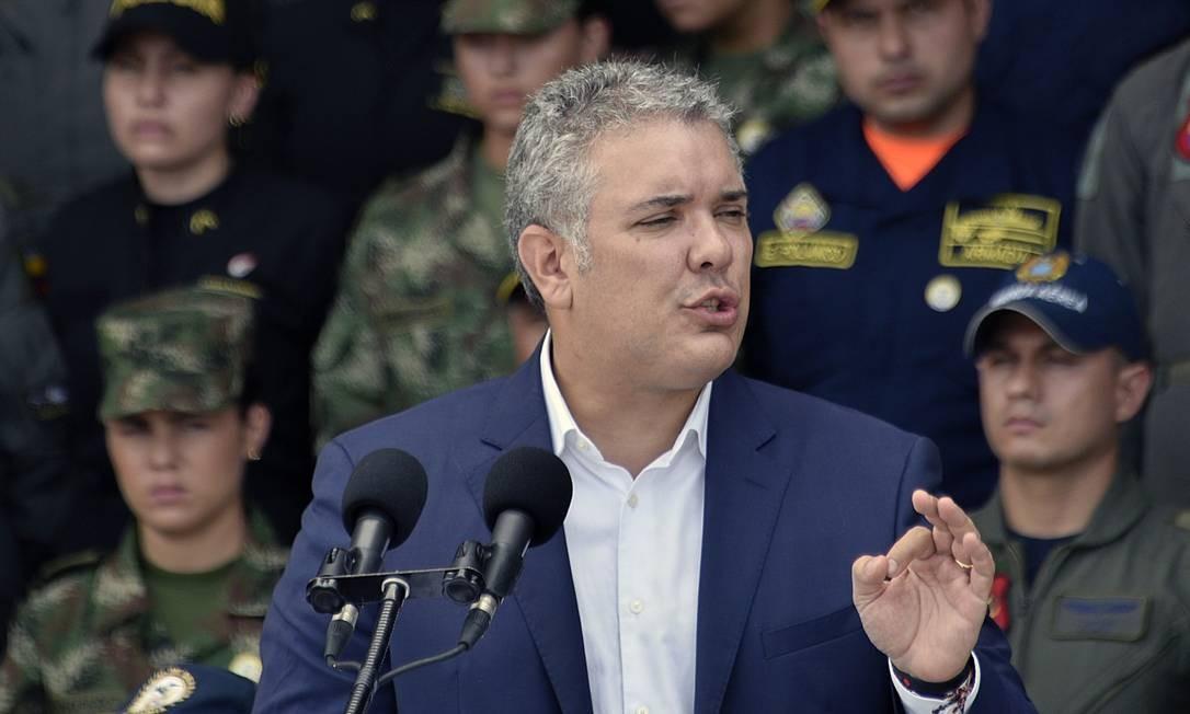 Presidente colombiano, Iván Duque, durante apresentação de plano nacional de defesa e segurança Foto: GUILLERMO LEGARIA / AFP