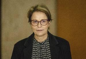 A ministra da Agricultura, Tereza Cristina, durante cerimõnia no Palácio do Planalto Foto: Daniel Marenco/Agência O Globo/15-01-2019