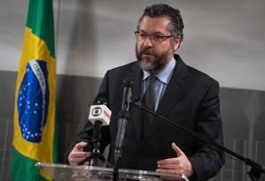 Araújo em Washington: em busca de uma relação simétrica com os EUA Foto: SAUL LOEB / AFP