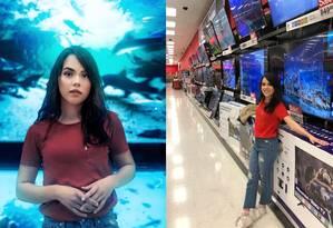 Aparelho de TV virou aquário, em clique feito por ele Foto: Reprodução/Instagram