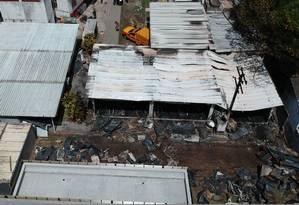 A área do Ninho do Urubu atingida pelo fogo Foto: Pablo Jacob