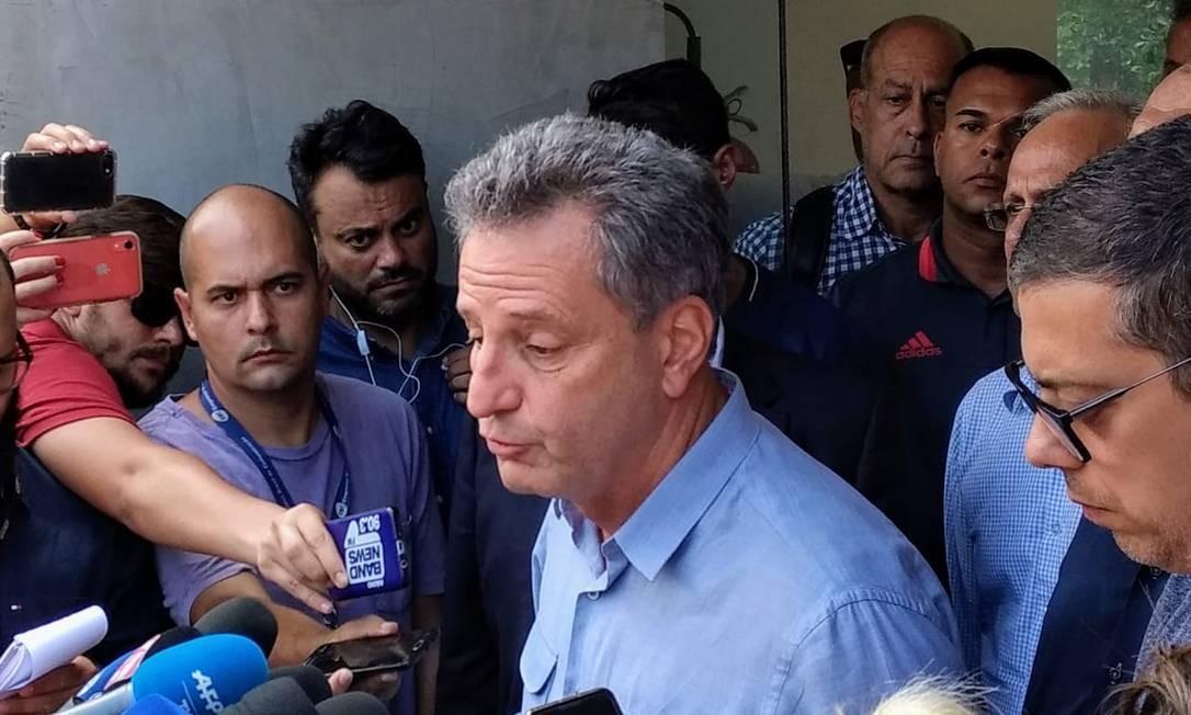 Rodolfo Landim, presidente do Flamengo, fez um pronunciamento Foto: Bruno Marinho / O Globo