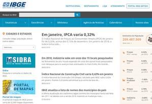 Site do IBGE Foto: Reprodução