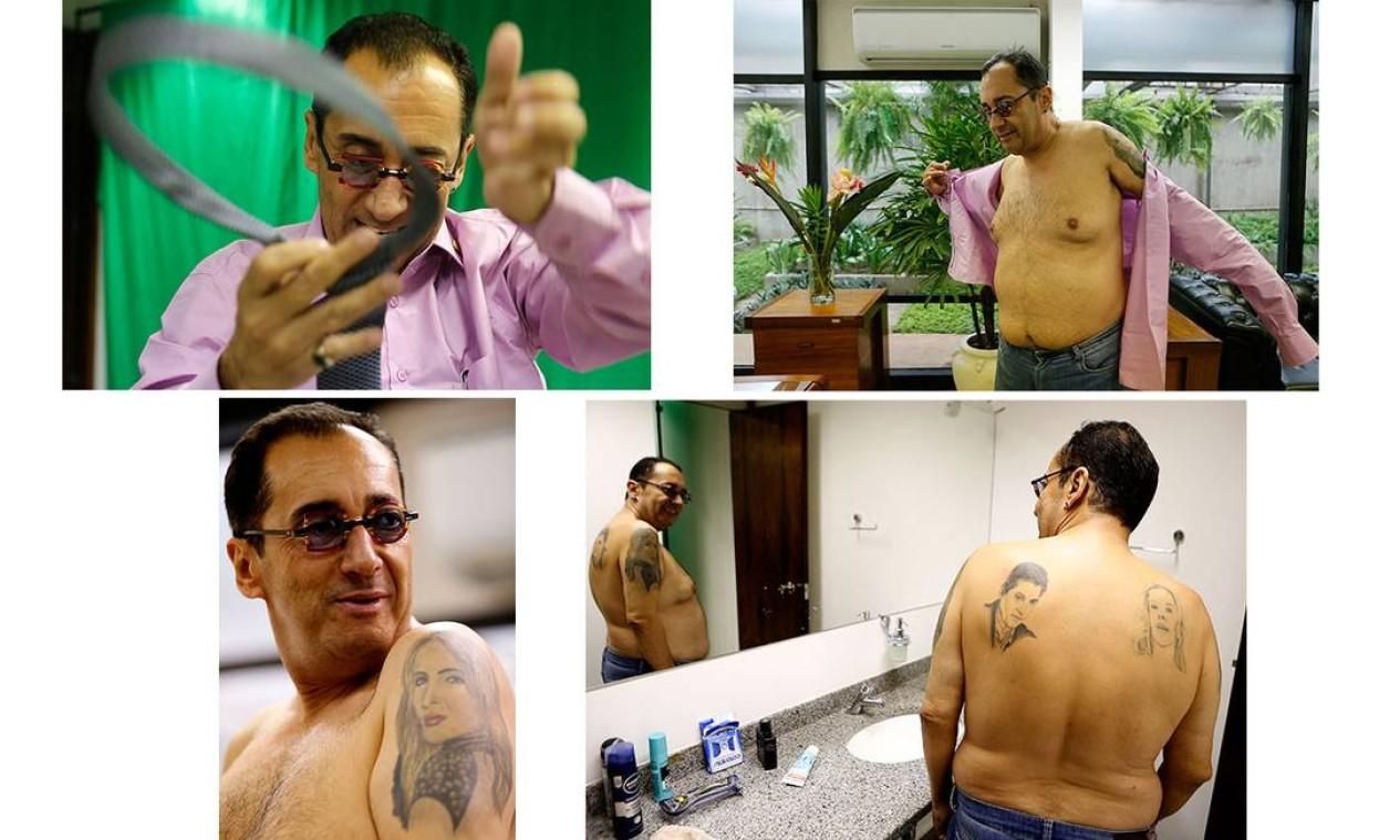 Em seu gabinete, o senador Kajuru mostra as tatuagens que tem, de Datena, Galisteu e Claudia Leitte. Galisteu reclamou de não ter ficado muito parecida Foto: Jorge Willian / Agência O Globo